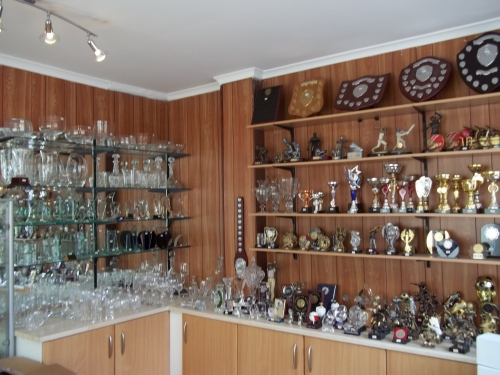 A large range of glass and crystal is shown in the shop in Congleton, Cheshire. H Cooper Glass Engravers, UK suppliers